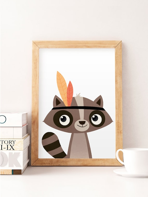 Racoon Print Cute Animals Animals Wall Art Nursery Decor