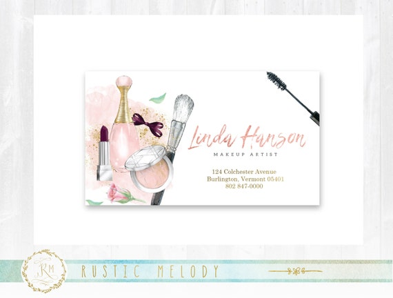 Premade Makeup Artist Business Card Gold Photography Thank You Events