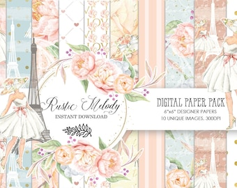 Digital paper,Paris Paper Pack, Fashion Paper,Eiffel Tower Background ,Paris Scrapbook, Girl  Patterns ,Watercolor Flower ,Peony Floral