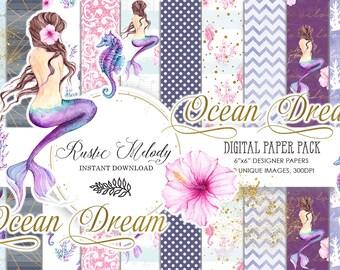 Mermaid Paper Pack, Watercolor Mermaid,Sea Paper,Scrapbook ,Underwater, Background, Seahorse  Patterns, Printable, DIY Pack, Purple,