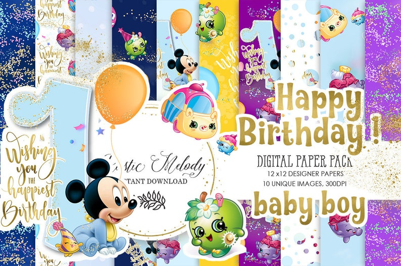 Nahtlose Mickey Mouse Paper Pack Baby-Papier erste   Etsy