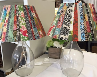 Set of 2 Multicolored Handmade Paper Lampshades with glass base