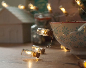 1m/3m Warm White Miniature Glass Bottle Fairy Lights (Battery)