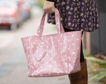 Reusable Shopping Bag - Oilcloth Tote - Oilcloth Bag - Pink Spotty Bag