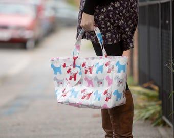 Oilcloth bag - Tote Bag - Market  Bag - Shoulder Bag - Scottie Dog Bag - Oilcloth Tote - Pink Shopping Bag - Dog Owner Bag - Handbag