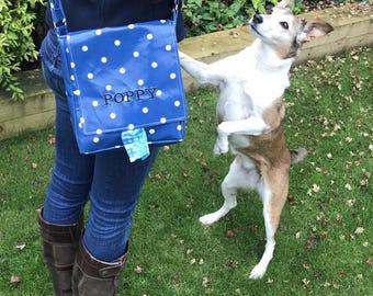 Dog Walking Bag - Dog Owner Gift - Dog Mess Bag - Crossbody Bag - Personalized pet - Poop Bag Dispenser - Polka Dot Dog Bag - Poo Bag Holder