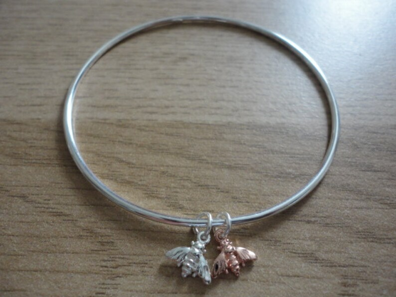 Rose Gold /& Silver Double Bee Bangle