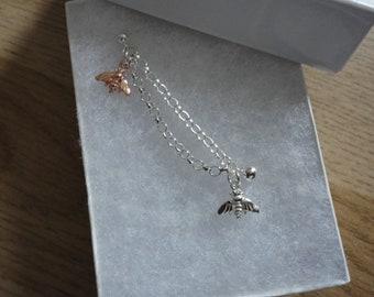 Rose Gold & Silver Double Piercing Bee Earring