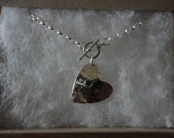 Hammered heart necklace ( Ring & Bar style)