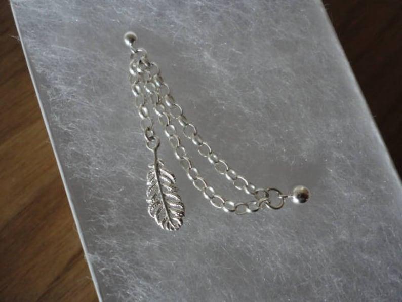 Dainty Feather Double earring