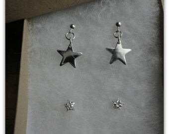 Sparkle Star and Little silver star earring set