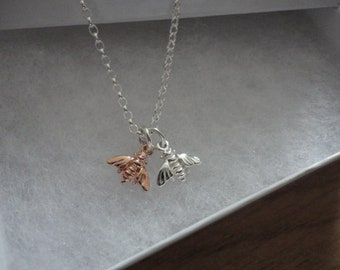Rose Gold & Silver Bee Necklace