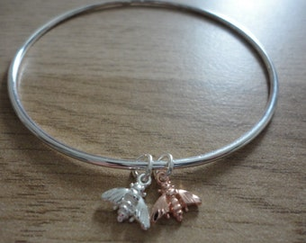 Rose Gold & Silver Double Bee Bangle