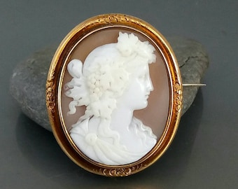Antique jewelry etsy antique victorian cameo brooch carved shell bacchante jewelry uk aloadofball Images