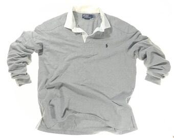 Vintage-Polo von Ralph Lauren White Collar Langarm Sweatshirt Schulter und  Ellbogen Polsterung lässig 29c69a96a7