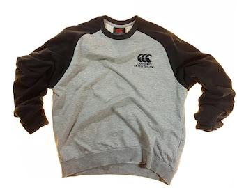 Vintage Canterbury of New Zealand Sweatshirt Trek top Ash gray M Trainer Style Rugby Sportswear Pullover Activewear