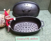 Extremely Rare Size Griswold 3 Dutch Oven Oval Roaster P N 623 Fully Lettered Lid 644A With Trivet P N 274 Circa 1934 to 1957 Vintage