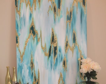Teal and Mint Gold Leaf Abstract Canvas 36x48