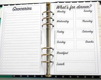 A5 - Half Letter Inserts - Meal Planning Inserts - Grocery Shopping Inserts - Personal Planner Inserts - Meal Inserts - Weekly Inserts