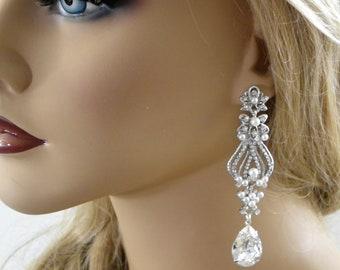 Chandelier Long Bridal Earrings, Wedding earrings, Вridal earring, Bridal jewelry, Crystal Earrings, Bridal Accessories Statement Earrings
