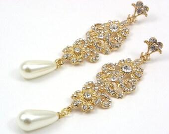 Chandelier Long Bridal Earrings, Wedding Gold earrings, Вridal earring, pearl and Crystal Earrings, Bridal Accessories Statement Earrings