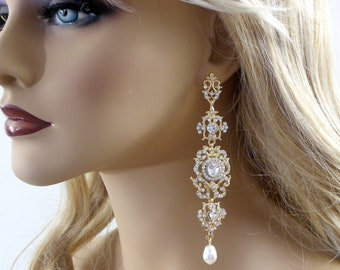 "Chandelier Crystal Bridal Gold Earrings, Chandelier long Bridal Earrings,4"" Long Crystal statement earrings, Bridal Wedding jewelry"
