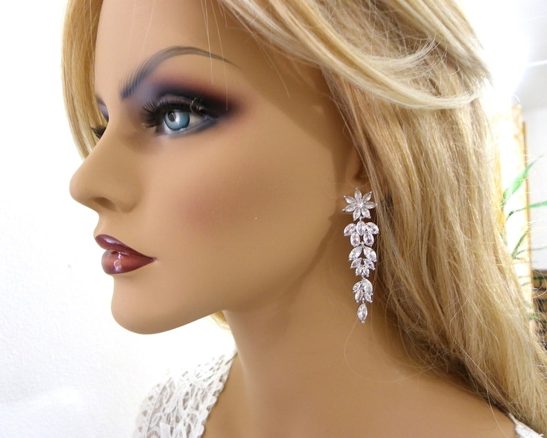 wedding earrings Bridesmaid Gift clear zircon Teardrop earrings Zircon earrings Chandelier zircon earrings Crystal zircon earrings