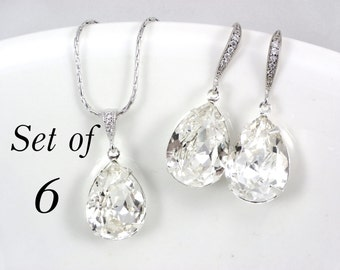 Set of 6 Bridesmaid Jewlery Set Swarovski Teardrop Earrings pendant necklace clear crystal Wedding Jewelry, Bridesmaid Gift, bridal jewelry