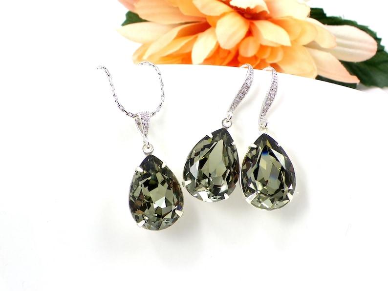 67da2266e Black Diamond Swarovski Crystal Necklace and earrings Grey   Etsy
