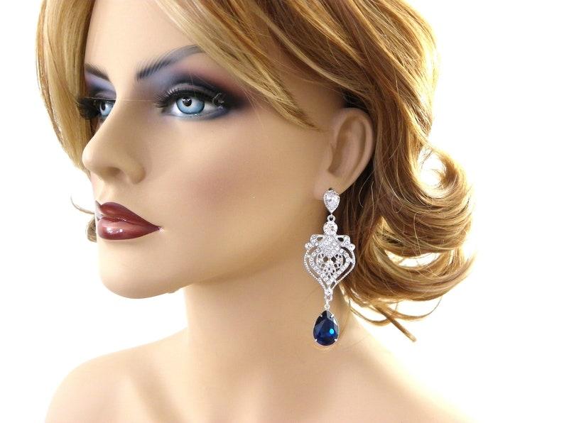 51be60a61 Royal Blue Clip on earrings Montana Chandelier Earrings Navy   Etsy