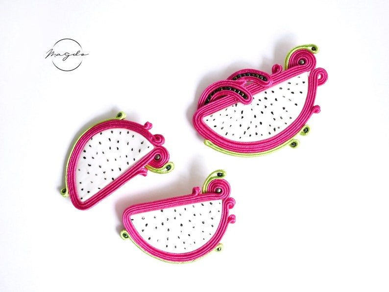 pitaya earrings and pin dragon fruit earrings and pin tropical set Soutache earrings in hot pink and green with matching soutache brooch