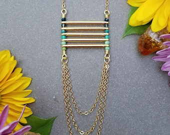 Blue Green Ombre Ladder Necklace in Gold >> Blue, Turquoise, and Green Glass Beads, Long, Layering Necklace, Boho Style