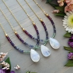 Delicate, Rainbow Moonstone Necklace in Gold > Beaded with Apatite, Iolite, Labradorite, Amethyst & Garnet Gems - Luxe, Gemstone Jewelry