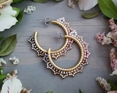 Cherry Blossom Woven Lacy Hoop Earrings in Gold Pink, Blush, Rose Gold, Champagne, Gray Seed Beads Beaded