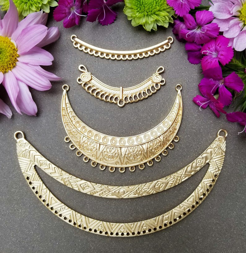 Pewter Size: 49mm wide Collar Satin Silver Crescent Pendant Textured Centerpiece with Loops  2 or 5 pcs Boho Necklace Bar