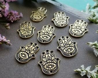 Hamsa Hand Link - Gold >> Bulk, 4 or 10 pieces - Henna Hand Charm, 22mm, Tierra Cast, Spiritual, Pewter, Lead-Free, American Made