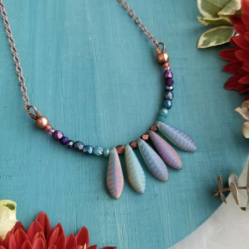 Layering Necklace Dagger Necklace in Antique Copper  Purple to Teal Ombre w Blue Dagger Beads Beaded Colorful Modern Boho Delicate