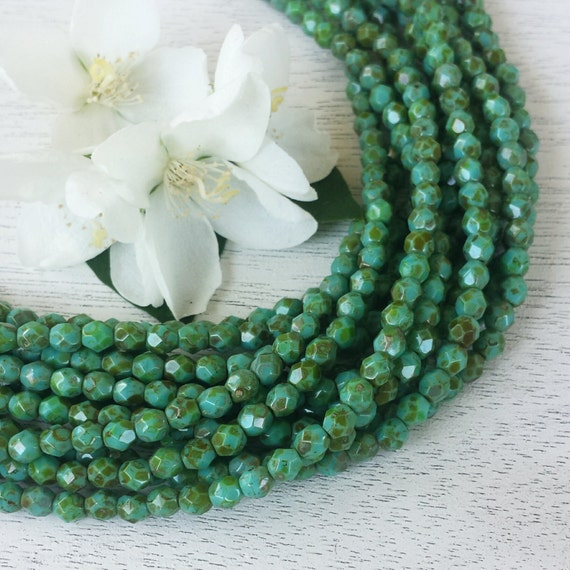 50 Opaque Turquoise-Picasso Czech Firepolished Faceted Round Glass Beads 4mm