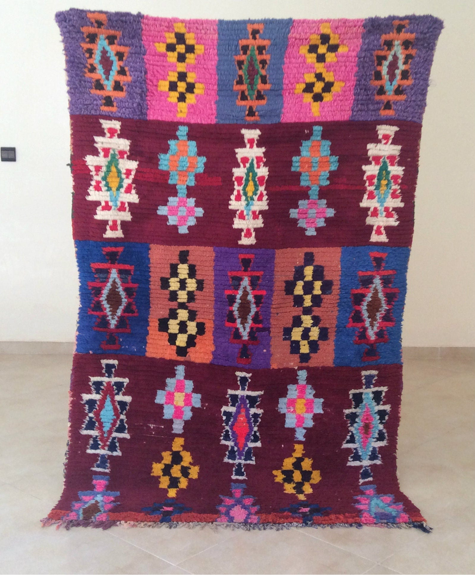 Boucherouite Gorgeous Rug Vintage Moroccan Rug. Teppish. A