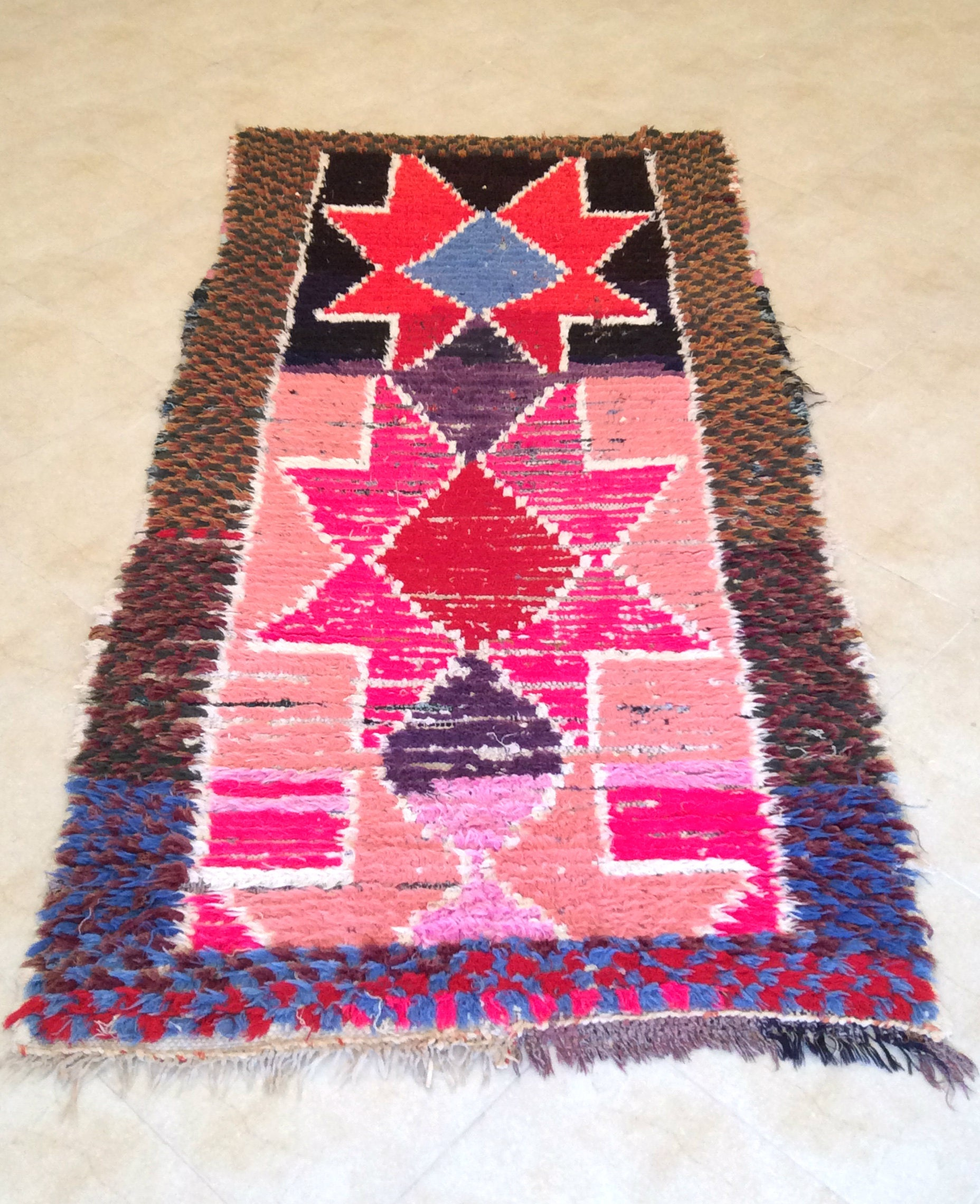 Berber Boucherouite Rug From The Moroccan Atlas Mountains