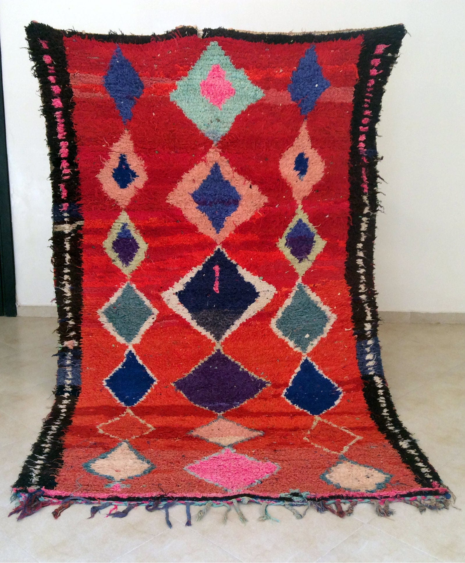 Handsome Moroccan Vintage Boucherouite Rug A Real Rare