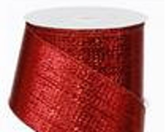 RIBBON - Wired Ribbon - Metallic Ribbon - Red Ribbon - Wreath - Floral - RG0140024