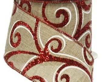 RIBBON - Wired Ribbon - Red Ribbon - Wreath - Floral Ribbon - RW728118