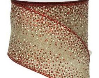 RIBBON - Wired Ribbon - Red Ribbon - Floral Ribbon - RW728518