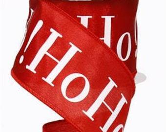 RIBBON - Wired Ribbon - Red Ribbon - Ho Ho Ho -Floral Ribbon - RX3960F3
