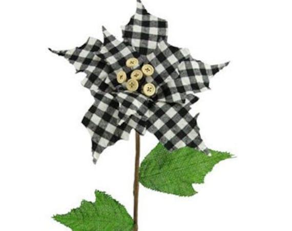 CHRISTMAS PICKS - White and Black Buffalo Check Poinsettia Pick - Christmas Floral - Christmas Sprays - Floral Sprays