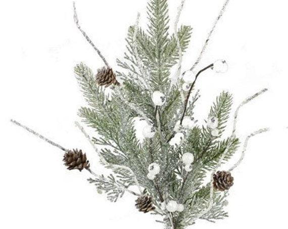 "24""L Cedar Pine with Cone and Winter Snow Floral Spray"