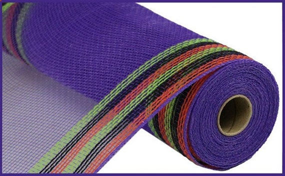 "Purple with Green, Orange, & Black Border Stripe Faux Jute Deco Mesh - 10.5"" X 10 Yards"