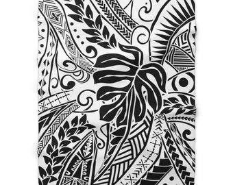Hawaiian Blanket Hula Dancer Tapa Sherpa Fleece Blanket SAMOAN Blanket