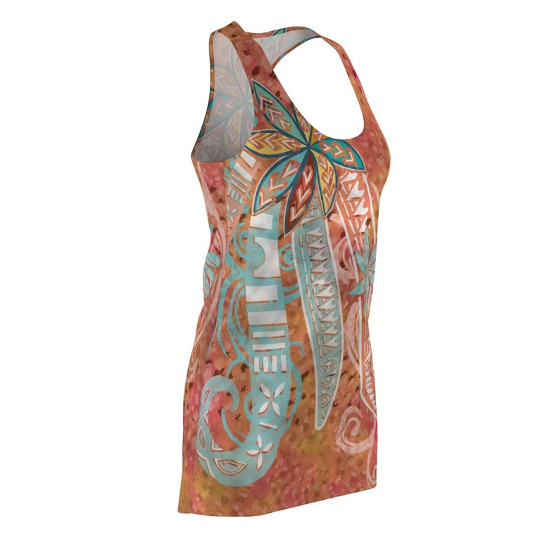 Field Of Coral Sunset Floral Tribal Threads Women/'s Cut /& Sew Racerback Dress Polynesian Red Dress